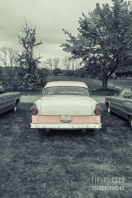 Classic Two Tone Pink Car Parked Print by Edward Fielding