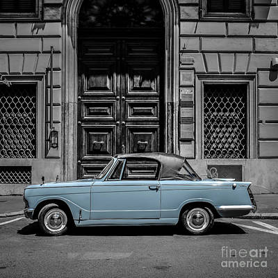 Vintage Blue Photograph - Classic Vintage Car Rome Italy by Edward Fielding