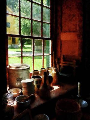Bowls Photograph - Clay Jars On Windowsill by Susan Savad