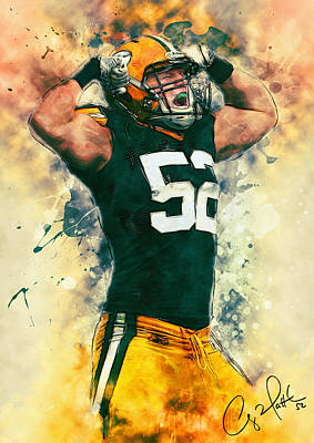 Nfl Art Painting - Clay Matthews by Taylan Apukovska