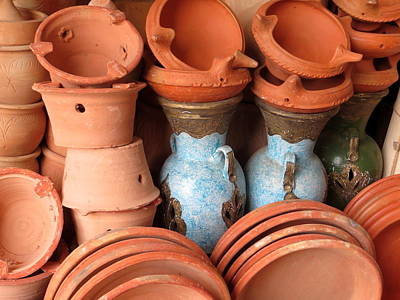 Clay Pots Print by Cindy Kellogg