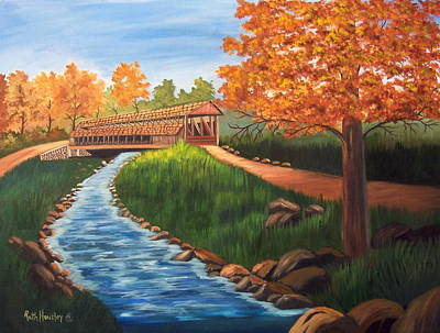 Covered Bridge Painting - Claycomb Covered Bridge Sold by Ruth  Housley