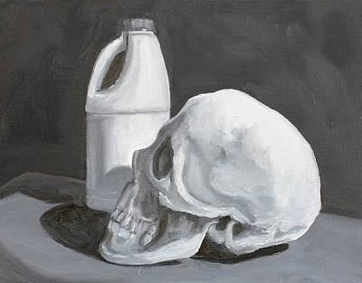 Skull Painting - Clean by Margaret Marzullo