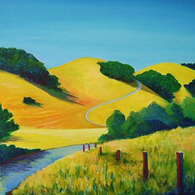 Contemporary Landscape Painting - Clear Fall Day At Briones by Stephanie  Maclean