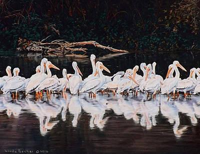 Clear Lake Pelicans Print by Linda Becker