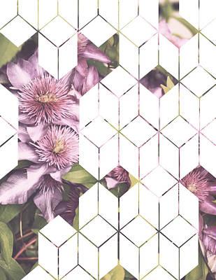 Flower Design Digital Art - Clematis Geometric Print by Manuela Pugliese