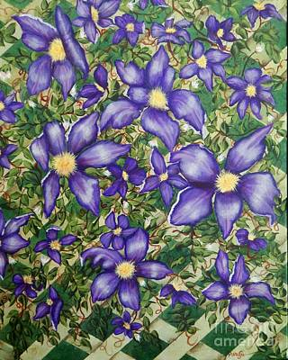 Clematis Painting - Clematis On Lattice by MarySue Urban