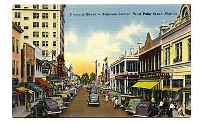 Clematis Street West Palm Beach Florida Print by Unknown