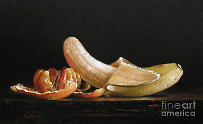 Clementine And Banana Print by Larry Preston