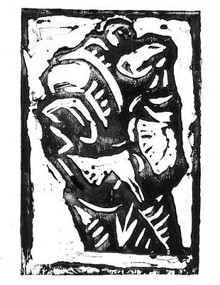 Lino Mixed Media - Clenched Fist by Stuart Bracewell