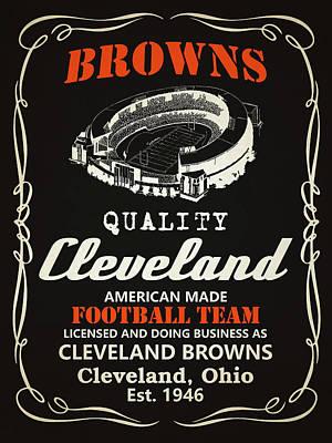 Cleveland Browns Whiskey Print by Joe Hamilton