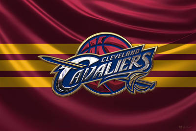 Cleveland Cavaliers - 3 D Badge Over Flag Print by Serge Averbukh