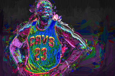 Cleveland Cavaliers King Lebron James Painted Mix 2 Print by David Haskett