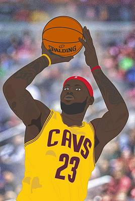 Cleveland Cavaliers - Lebron James - 2014 Print by Troy Arthur Graphics