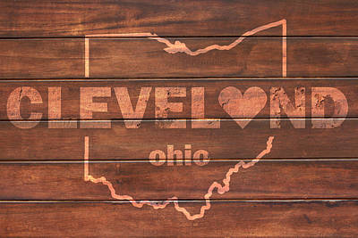 Cleveland Heart Wording With Ohio State Outline Painted On Wood Planks Print by Design Turnpike