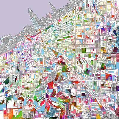 Cleveland Map 2 Print by Bekim Art