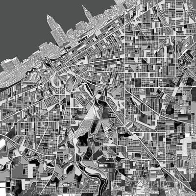 Cleveland Map Black And White Print by Bekim Art