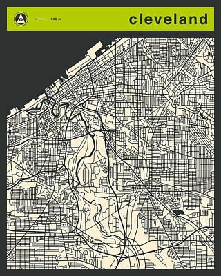 Pop Art Digital Art - Cleveland Street Map by Jazzberry Blue