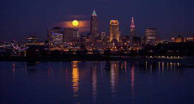 Cleveland Moonlight Print by J Allen
