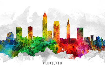 Cleveland Ohio Cityscape 12 Print by Aged Pixel