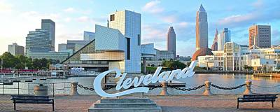 Photograph - Cleveland Panoramic With Name by Frozen in Time Fine Art Photography