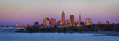 Cleveland Skyline At Sunset Panorama Print by Marcia Colelli