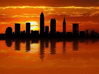 Cleveland Skyline Sunset Reflection Print by Dan Sproul