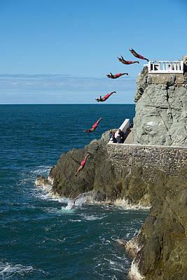 Mazatlan Photograph - Cliff Diving In Mazatlan Mexico by Bill Cubitt