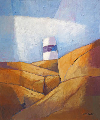Handpainted Painting - Cliffs And Beacon by Lutz Baar