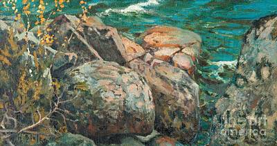 Cliff Painting - Cliffs By The Shore by Celestial Images