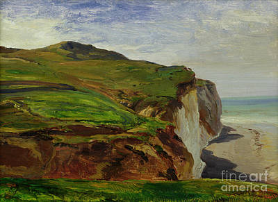 Cliffs Print by Louis Eugene Gabriel Isabey