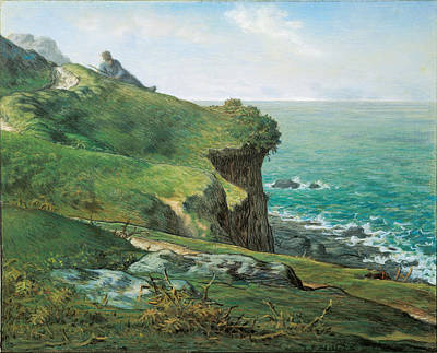 Jean Francois Millet Drawing - Cliffs Of Greville by Jean Francois Millet