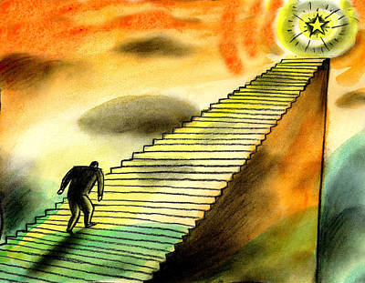 Resolution Painting - Climbing The Corporate Ladder by Leon Zernitsky
