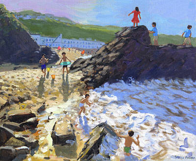 Climbing On The Rocks, St Ives Print by Andrew Macara