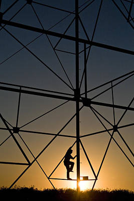 Telephone Poles Photograph - Climbing Up A Power Tower by Dawn Kish