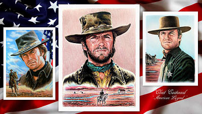 Icon Drawing - Clint Eastwood American Legend 2nd Ver by Andrew Read