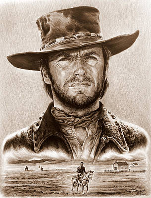 Wild Horse Drawing - Clint Eastwood The Stranger by Andrew Read