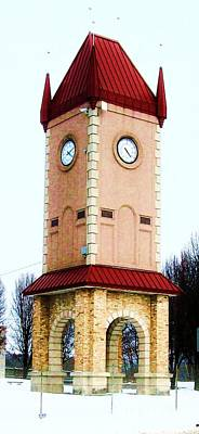 Clock Tower In Czech Village Print by Marsha Heiken