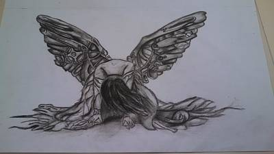 Sad Girl Drawing Drawing - Clockwork Angel by Chloe Smith