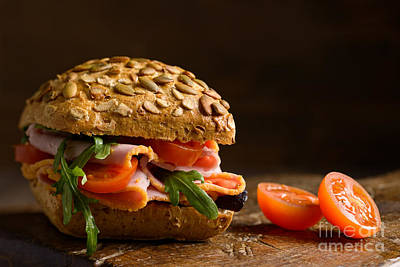 Baguettes Photograph - Close Up Ham Salad Roll by Amanda And Christopher Elwell
