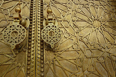 Morocco Photograph - Close Up Of Detailed Engraving And Knockers On The Brass Doors T by Reimar Gaertner