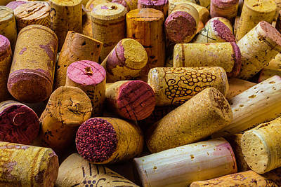 Close Up Wine Corks Print by Garry Gay
