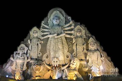 Goddess Durga Photograph - Close Up World's Biggest Durga Idol At Puja Festival 70 Feet Tall Made Of Clay by Rudra Narayan  Mitra