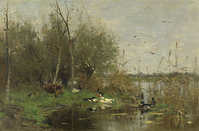 Ducks Painting - Closed Border With Ducks by Geo Poggenbeek