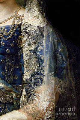Elaborate Painting - Closeup Of Antique Spanish Lace Mantilla, Detailed Dress by Tina Lavoie