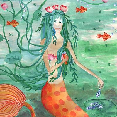 Sue Burgess Painting - Closeup Of Lily Pond Mermaid With Goldfish Snack by Sushila Burgess