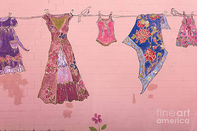 Wall Mural Photograph - Clothes Line Mural Burlington Vermont by Edward Fielding