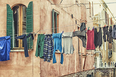 Clothes To Dry Print by Patricia Hofmeester