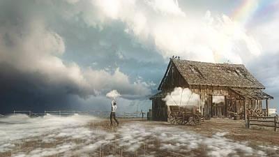 Old Barns Digital Art - Cloud Farm by Cynthia Decker