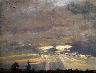 Johan Christian Dahl Painting - Cloud Study With Sunbeams by Johan Christian Dahl